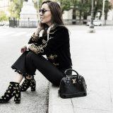 Velvet Toggle Jacket + Pompom Trousers + Velvet Ankle Boots / Chaqueta de Terciopelo + Culottes con Pompones + Botines de Terciopelo