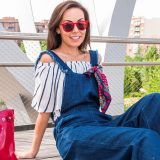 Frayed Denim Jumpsuit + Off Shoulder Top / Mono Vaquero Deshilachado + Top con Hombros al Descubierto